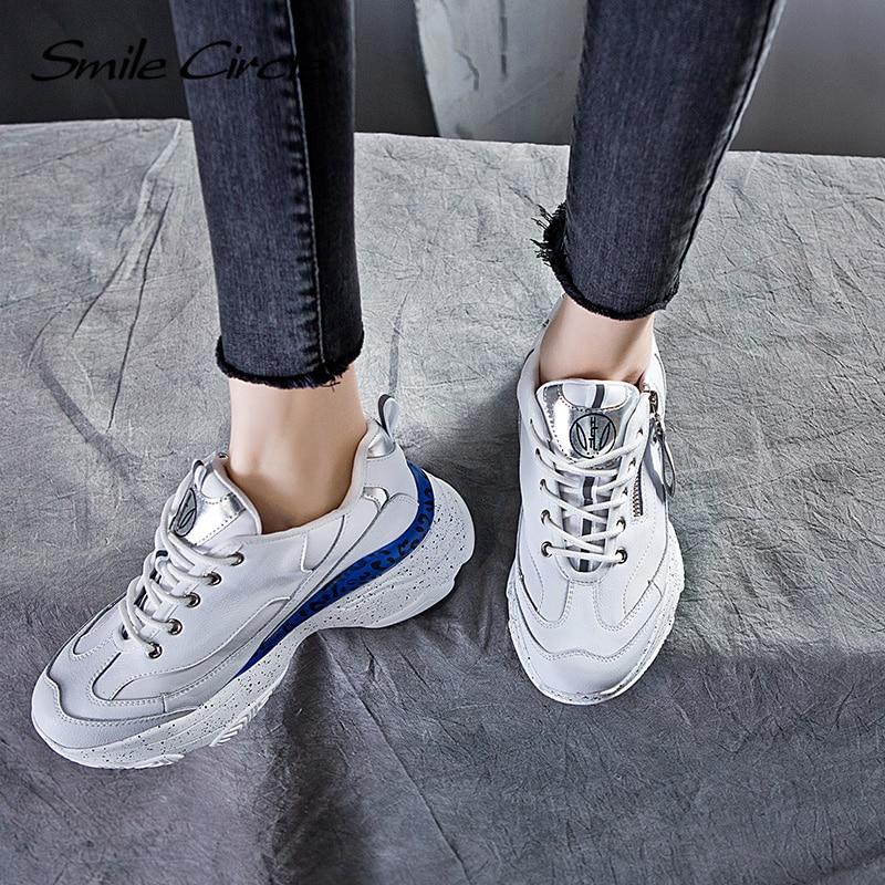 2019 Sourire Noir up Plate forme Chaussures Respirant Sneakers Confortable blanc Femmes Dentelle Cercle Plat Casual Printemps IDHW2E9