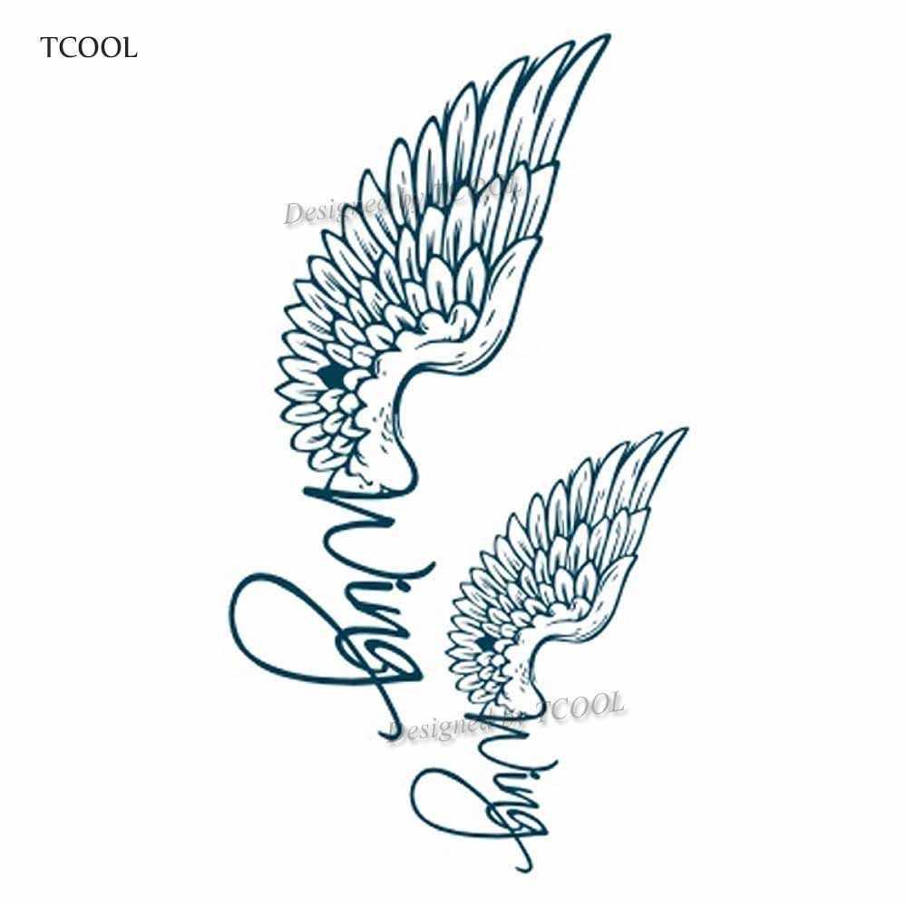 7430c3864 ... HXMAN Wing Temporary Tattoos Waterproof Women Fashion Fake Body Art  Tattoo Sticker Girl Kids Hand Tatoo