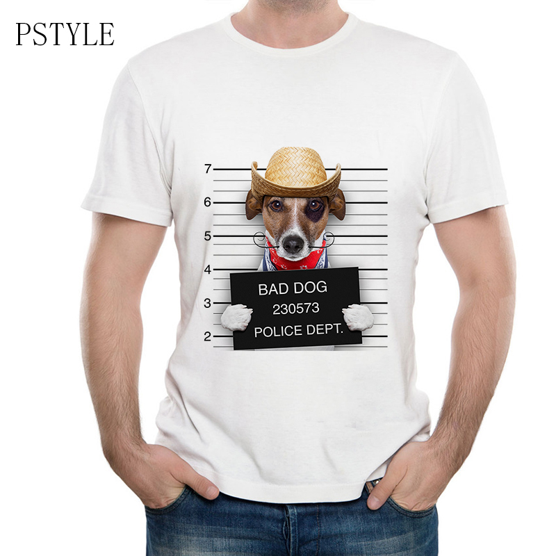 PSTYLE Funny Animal Dog Printing New 2018 Summer Fashion French Bulldog Design T Shirt Mens High Quality dog Tops Hipster Tees