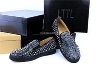 2016 LTTL Men Snakeskin Sneakers Spike Flats Slip on Men Casual Shoes Silver Rivet Men Loafers Drop Shipping