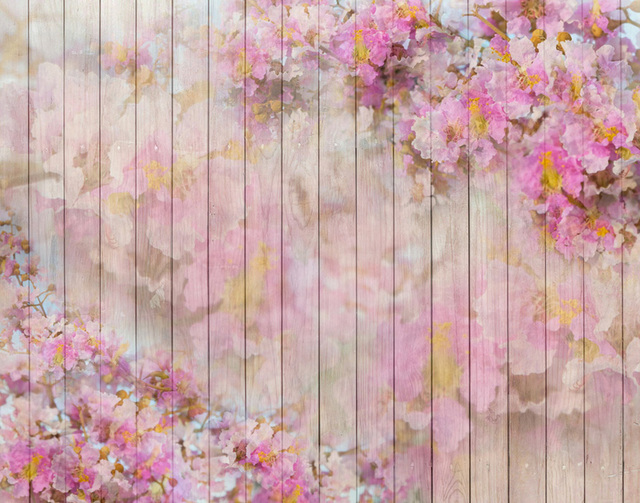 Horizontal vinyl cloth pink floral wood floor photography backdrops for baby newborn photo