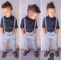 ST135 Бесплатная доставка 2015 летняя мода мальчиков одежда набор детей набор детей футболка + джинсы джентльмен брюки дети set retail