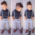 ST135 Frete grátis 2015 moda verão meninos roupas definir crianças definir crianças camisa + calça jeans cavalheiro calças crianças definir varejo