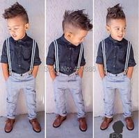 ST135 Free Shipping 2015 Summer Fashion Boys Clothes Set Children Set Children Shirt Jeans Gentleman Bib