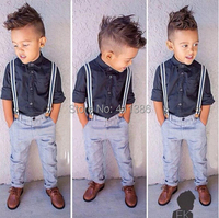 ST135 Free Shipping 2015 Summer Fashion Boys Clothes Set Children Set Children Shirt Jeans Gentleman Bib