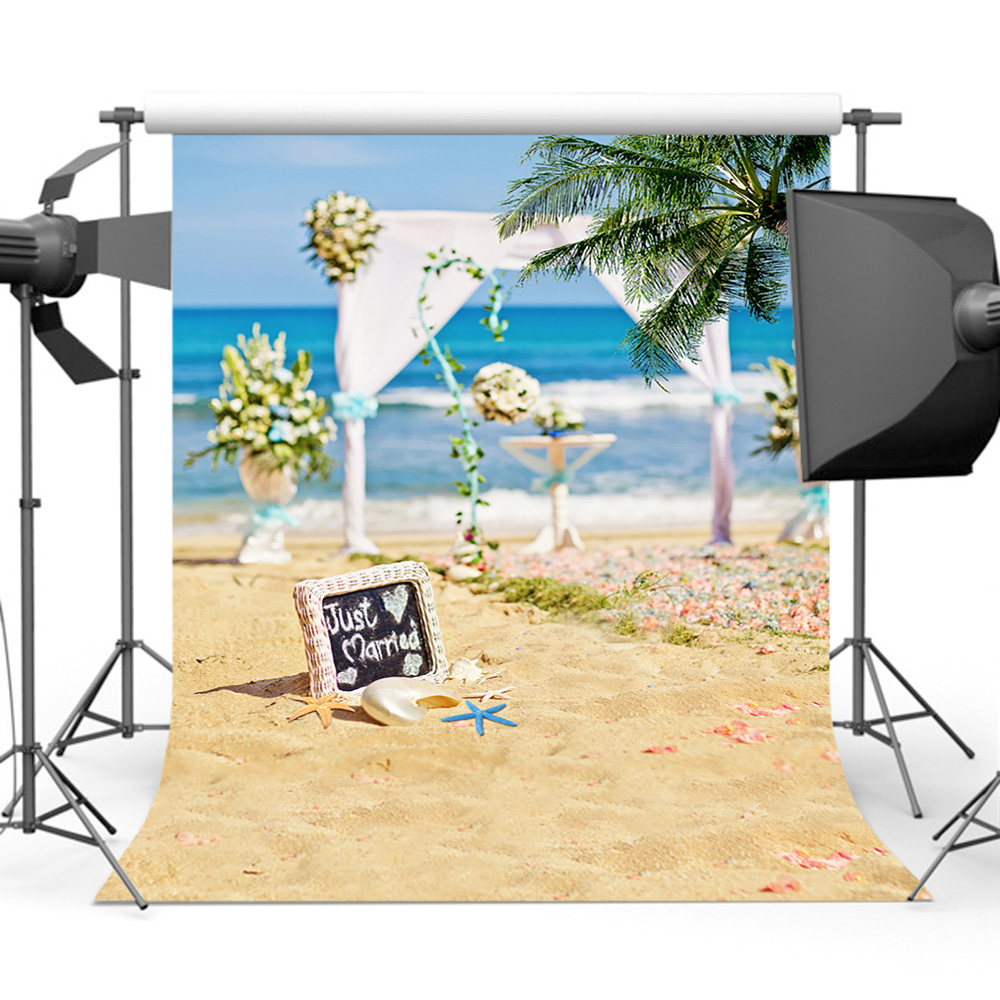 Background Of Blurred Beach And Sea Waves With Bokeh: Mehofoto Sandy Beach Wedding Backdrop Cocount Tree Bokeh