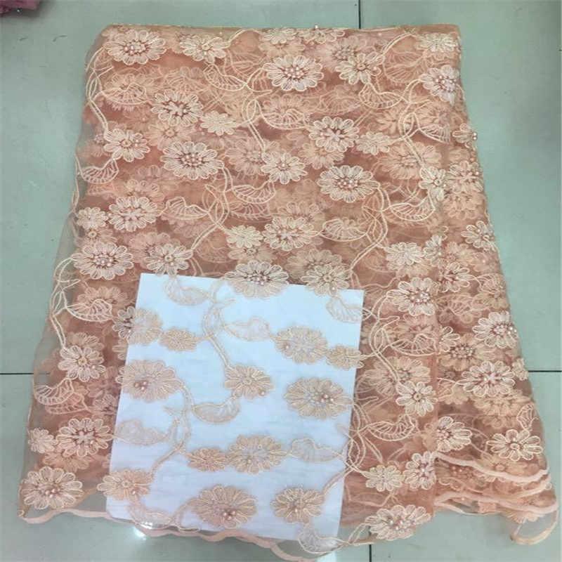 Розовые бусы в африканском стиле высокого качества чистая свадебная кружевная ткань 2019 новые нигерийские бусины гипюр Тюль швейный материал для вечернего платья