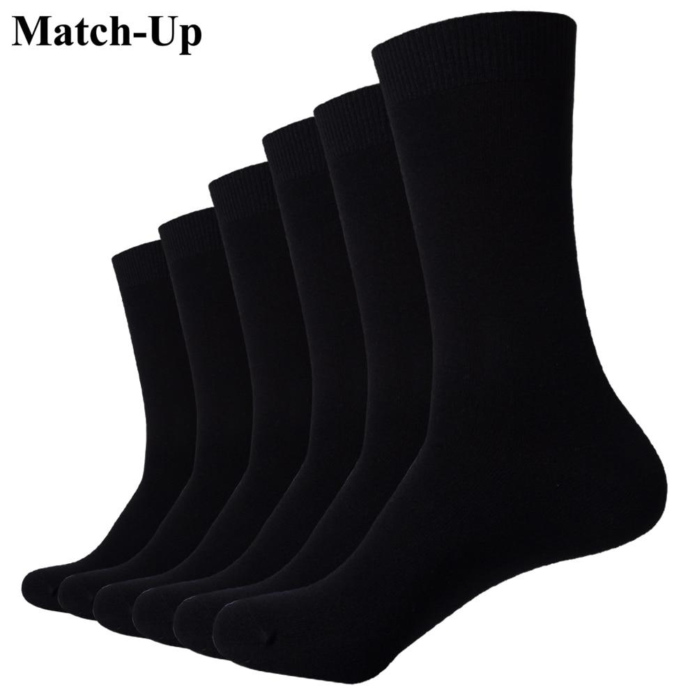 Match-Up   Socks   New styles men Black Business Cotton   socks   Wedding   socks   (6Pairs) US size (7.5-12)