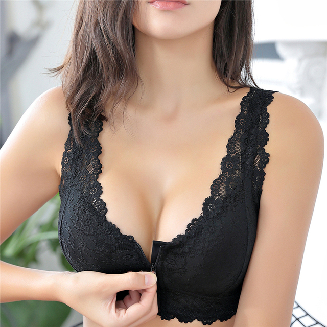 נקבת אפוד רוכסן קדמי לדחוף את חזיית כוס מלאה סקסית תחרה חזיות לנשים Bralette למעלה בתוספת גודל חלקה אלחוטי לאסוף חזייה
