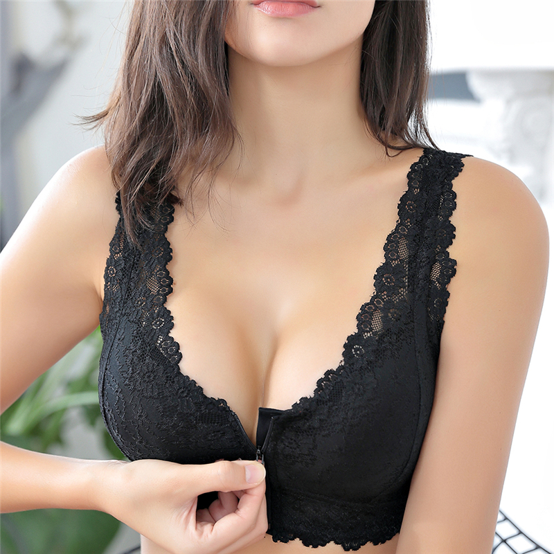 Female Vest Front Zipper Push Up <font><b>Bra</b></font> <font><b>Full</b></font> <font><b>Cup</b></font> <font><b>Sexy</b></font> <font><b>Lace</b></font> <font><b>Bras</b></font> <font><b>For</b></font> <font><b>Women</b></font> Bralette Top <font><b>Plus</b></font> <font><b>Size</b></font> Seamless Wireless Gather Brassiere image