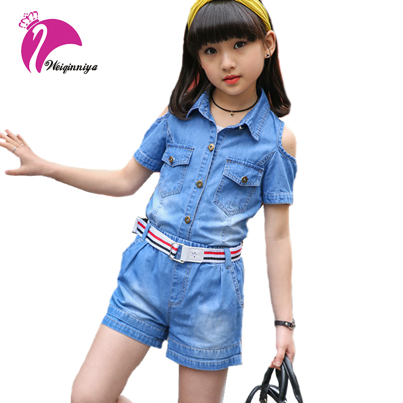 Kid Set For Girls New Brand Jeans Tops Pants 2 PCS Tracksuits For Girl Include Belt