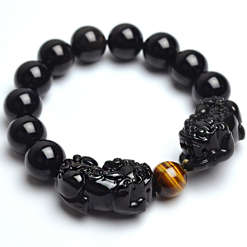 Natural Stone Black Obsidian Bracelet With Tiger Eye And Double Pixiu Lucky Brave Troops Charms Women And Men Jewelry new men bracelet 8mm tiger eye stone