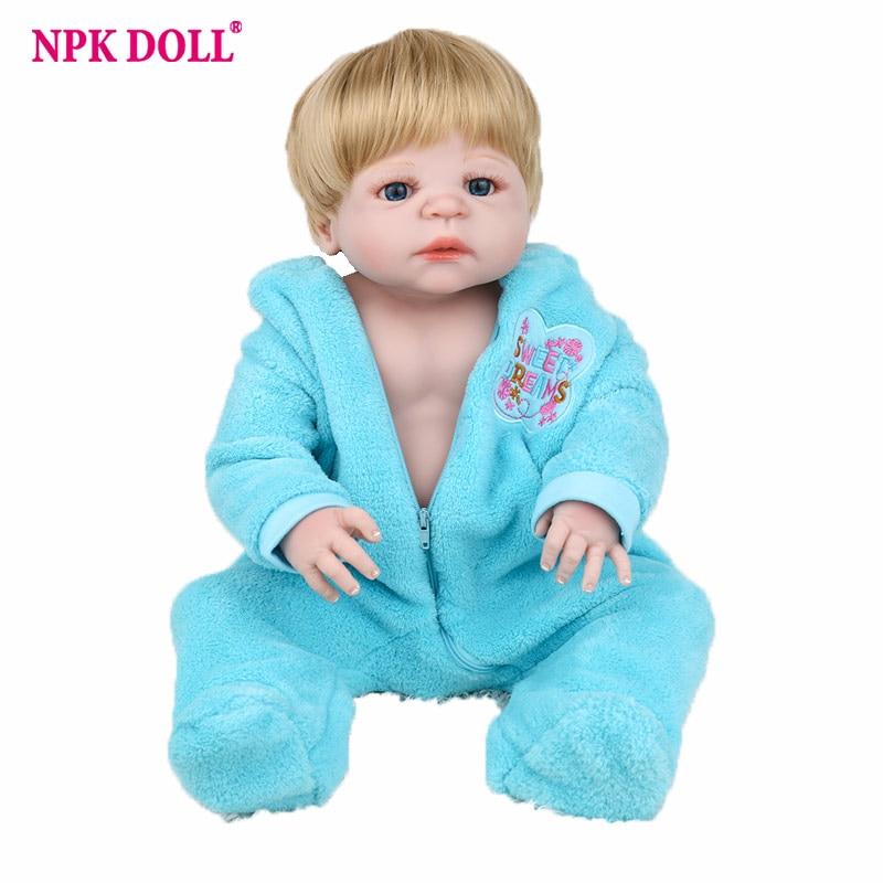 NPKDOLL Reborn bébé poupée réaliste nouveau-né infantile 55 cm jouets poupée Blonde postiches plein vinyle Silicone souple 22 pouces bebe mignon lol