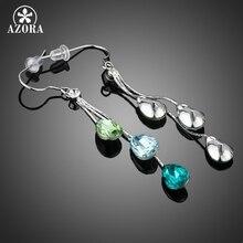 AZORA Elegant Charm Earrings for Women With 3pcs Water Drop Stellux Austrian Crystal Dangle Wedding Earrings TE0194