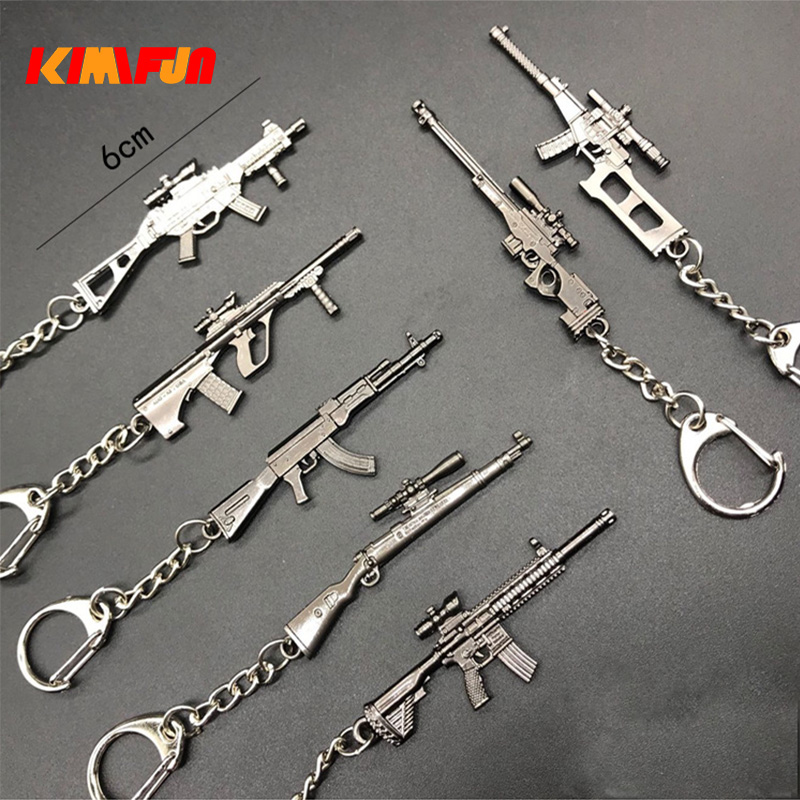 1/12 Metal Weapon Game Pickaxe Action Figure Toy 98k M249 VSS SKS AWM WIN94 SVD UMP PUBG Keyring Keychain