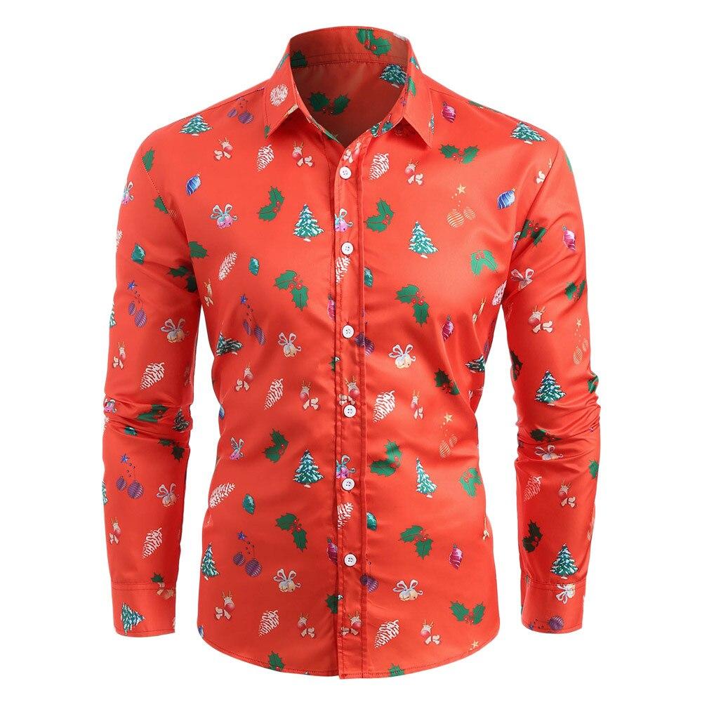 Winter Men Shirts Casual Slim Fit Christmas Printed Men Shirts Long Sleeve Street Wear Button Up Shirts Tops Men Dress Shirts