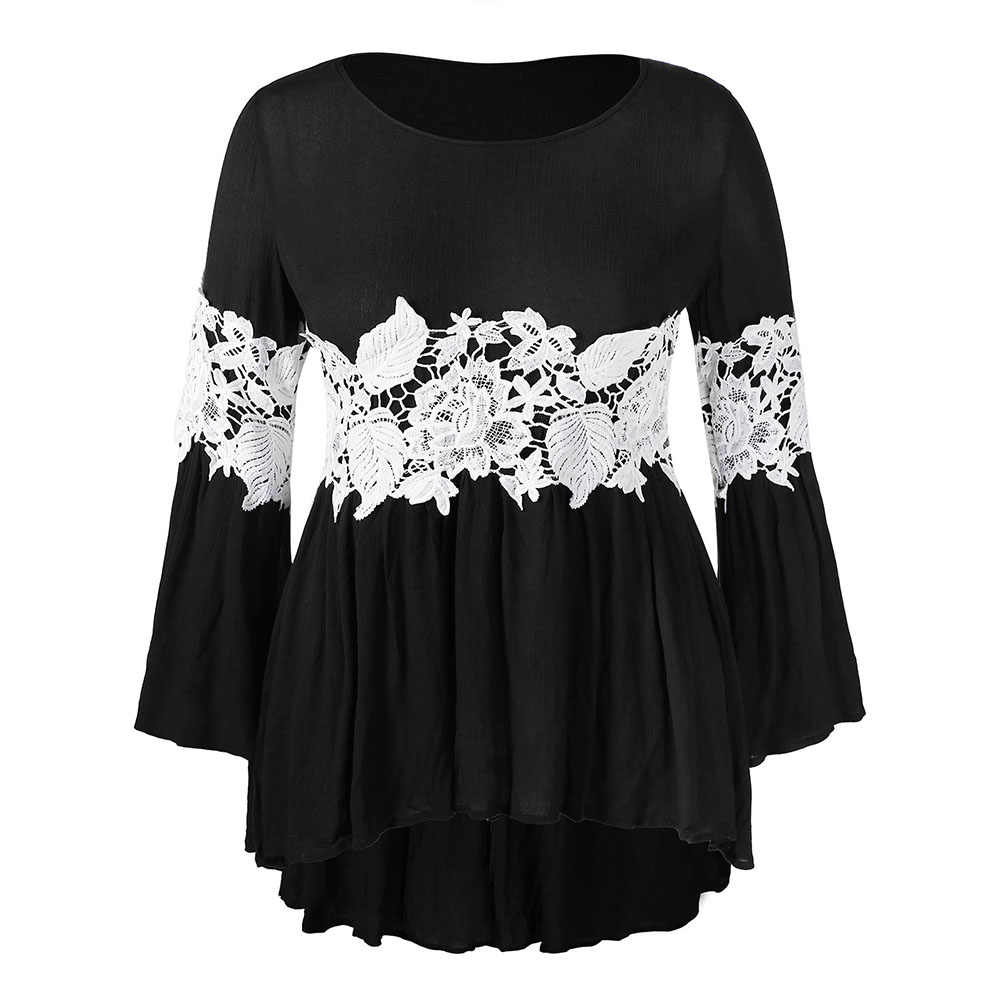 Rosegal Plus Size Lace Panel Contrast High Low Blouse Women Tops Casual O Neck Flare Sleeve Fall Blouses Female Ladies Clothes
