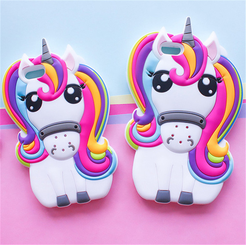 Hot Cute 3D Rainbow Unicorn Horse Animal Cartoon Soft Silicone Phone Cases Cover iPhone 7 7Plus 4 4S 5S 5C SE 6 6G 6S 6Plus  -  One Shop,One Dream Co., Ltd store