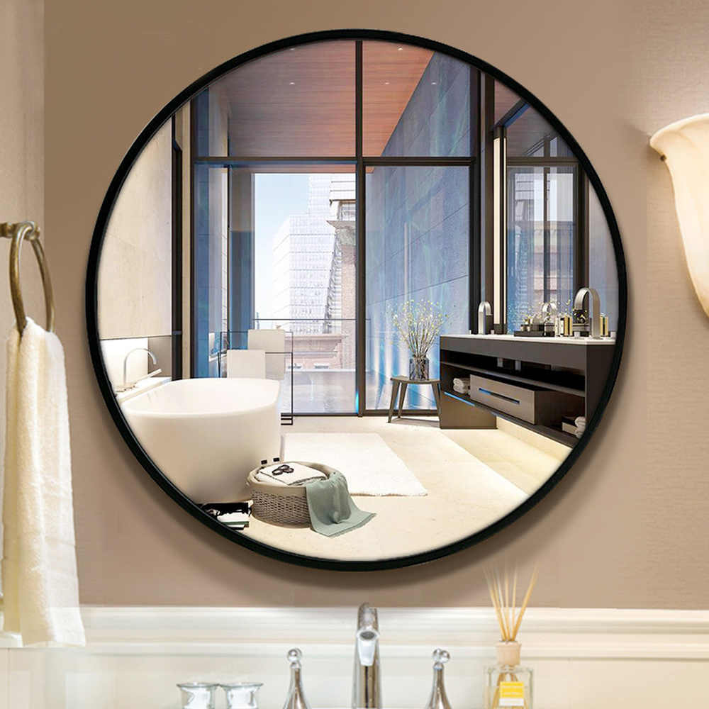 Bath Mirror Toilet Wall Mounted Round Wood Frame Mirror For Bathroom Bedroom Living Room Makeup Mirror Wx8221848 Aliexpress