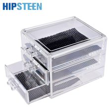 HIPSTEEN Acrylic Make Up Organizer 3 Drawers Storage Box Clear Plastic Cosmetic Storage Box Organizers Clear Cotton Pads Box
