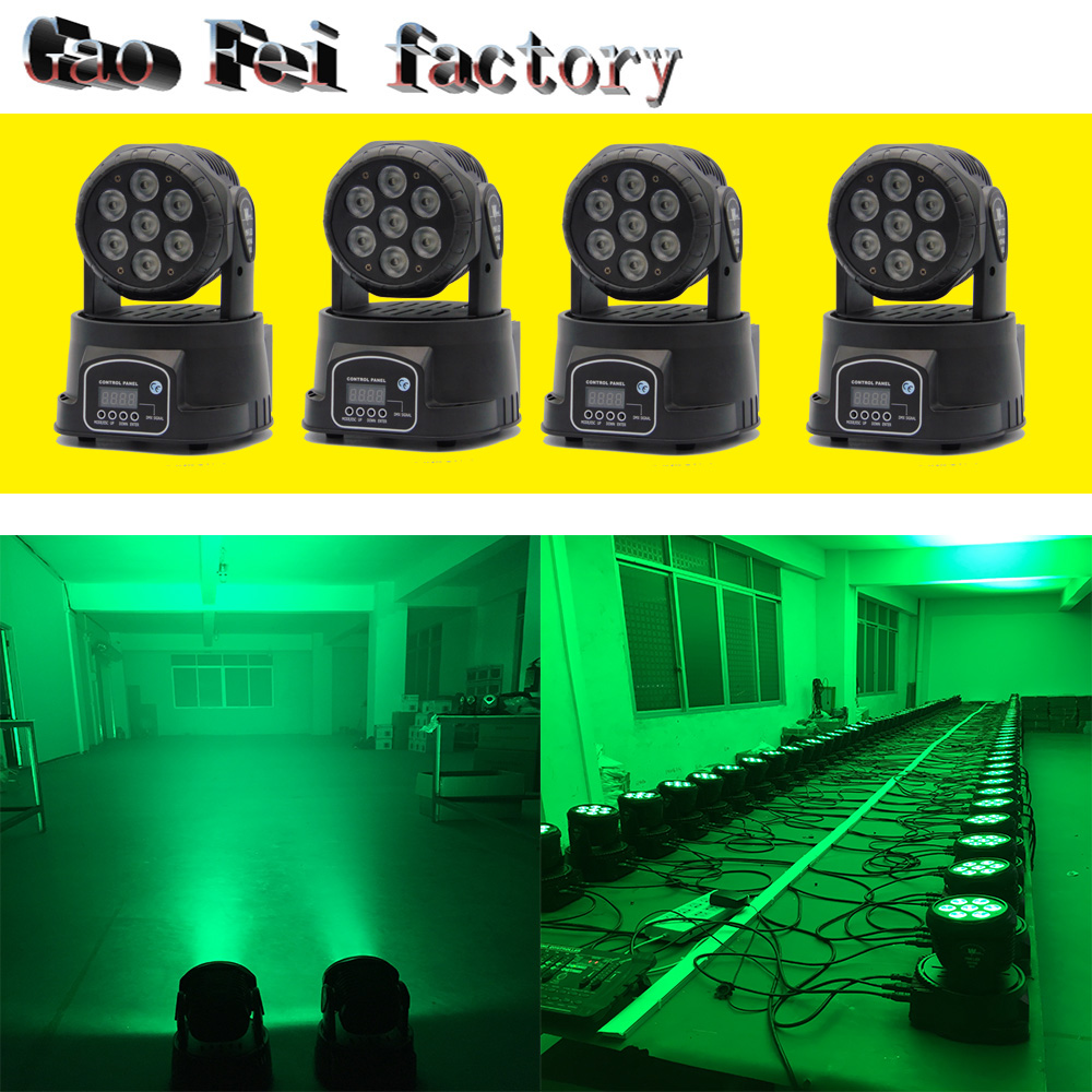 4pcs/lot Factory arrive Dj lighting full color rgbw moving head stage light 7x12W led DMX Wash dj stage light disco party light factory price 4pcs led moving head zoom wash light 36x10w rgbw 4 in1 stage night club disco bar uplighting fast