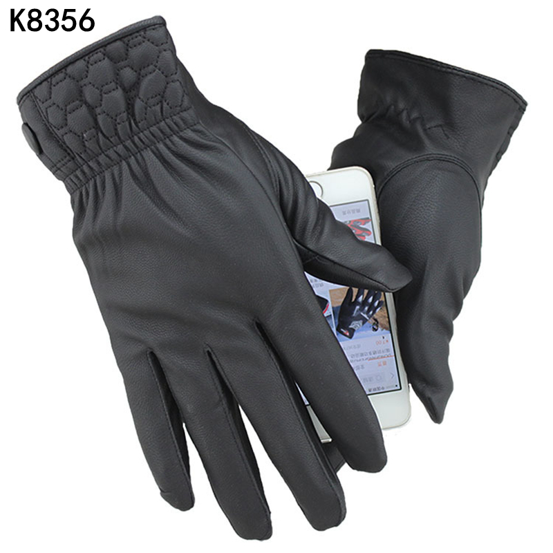 K8356 Full Finger Touch Induksjon Drive Fabric Photography PU Fishing Hansker Utendørs Vinter Sykling Hansker Skid-resistant Sports