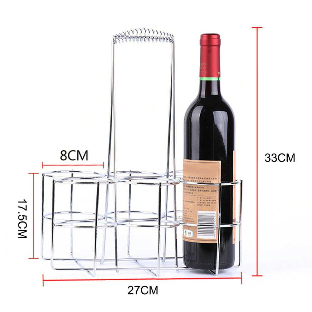 6 botellas mesa de Metal estante de pie cesta de mano contenedor de cerveza mesa de vino Servidor de botella para restaurante KTV Bar