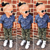 Fashion Toddler Kids Spring autumn Girls Denim Shirt + Camouflage Hole Trousers Two piece Children's Clothing 1 2 3 4 5 Years