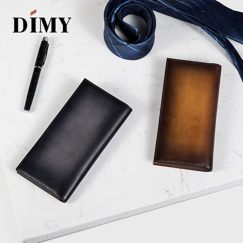 New Luxury Sequoia Leather Yen Wallet for men with beautiful patina Six credit card slots One note compartment Two patch pockets