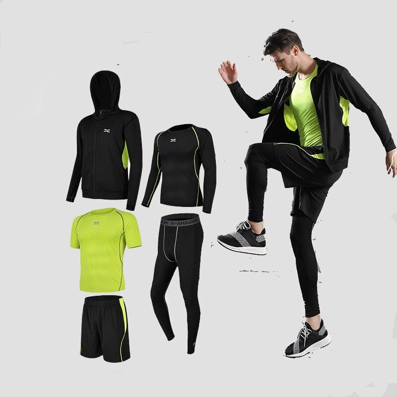 Lauf Männer Sport Anzug 2018 Kompression Läuft Set Basketball Laufen Unterwäsche Kleidung Trocknen Schnell Yoga Gym Fitness Training Sport Anzug