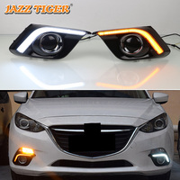 JAZZ TIGER Yellow Turn Signal Function Waterproof ABS 12V Car DRL LED Daytime Running Light Daylight For Mazda 3 2014 2015 2016