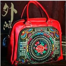 Модные дизайнерские ручной работы большая емкость вышитые коровьей путешествия Сумки этнические Повседневная Натуральная кожа Курьерские сумки