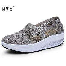 MWY Thick Platform Shoes Increased Breathable Leisure Shoes Rocking Shoes Zapatos Bajos De Mujer Lace Openwork Female Sneaker
