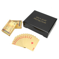Top Quality Gift 24K Carat Gold Foil Plated Poker Playing Card With Wooden Box And Certificat Fun Family Games 2 deck of Cards