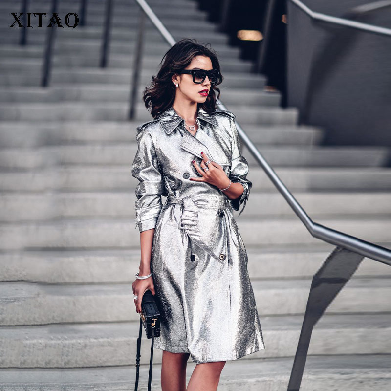 [XITAO] Europe Fashion New Women Double Breasted Women Fashion Turn-down Collar Full Sleeve Long Bandage Casual   Trench   DLL1861