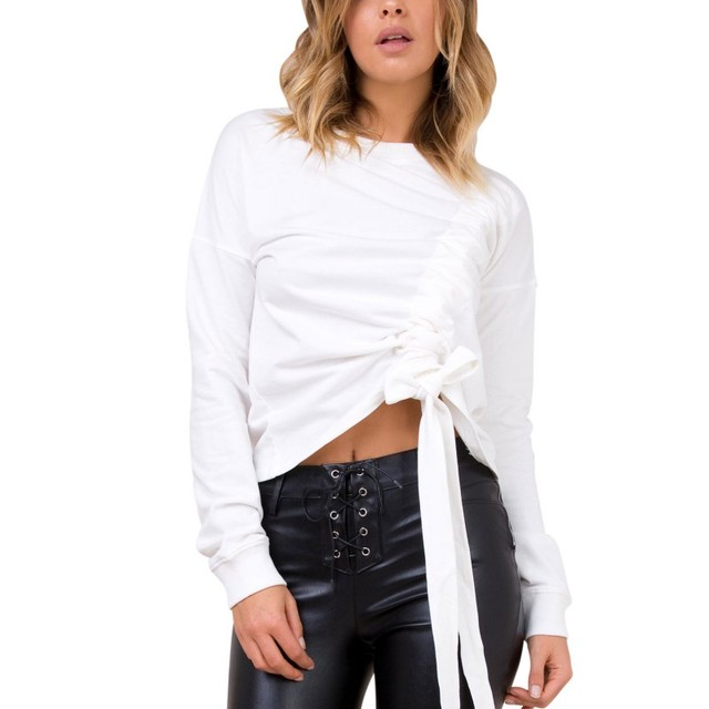 53e7230f5a6 New Design Waist Drawstring Wrap Crop Tops Women Long Sleeve O-neck White T-shirt  Lace-up Pleat Clothing Casual Tee For Spring