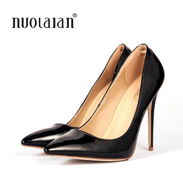 2018 Marque Chaussures Femme 12 Cm Talons hauts Femmes Pompes Stiletto Talon  Mince Chaussures de Femmes