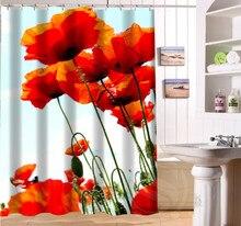 P PRENONGING Custom Beauty Poppy Shower Curtain Polyester