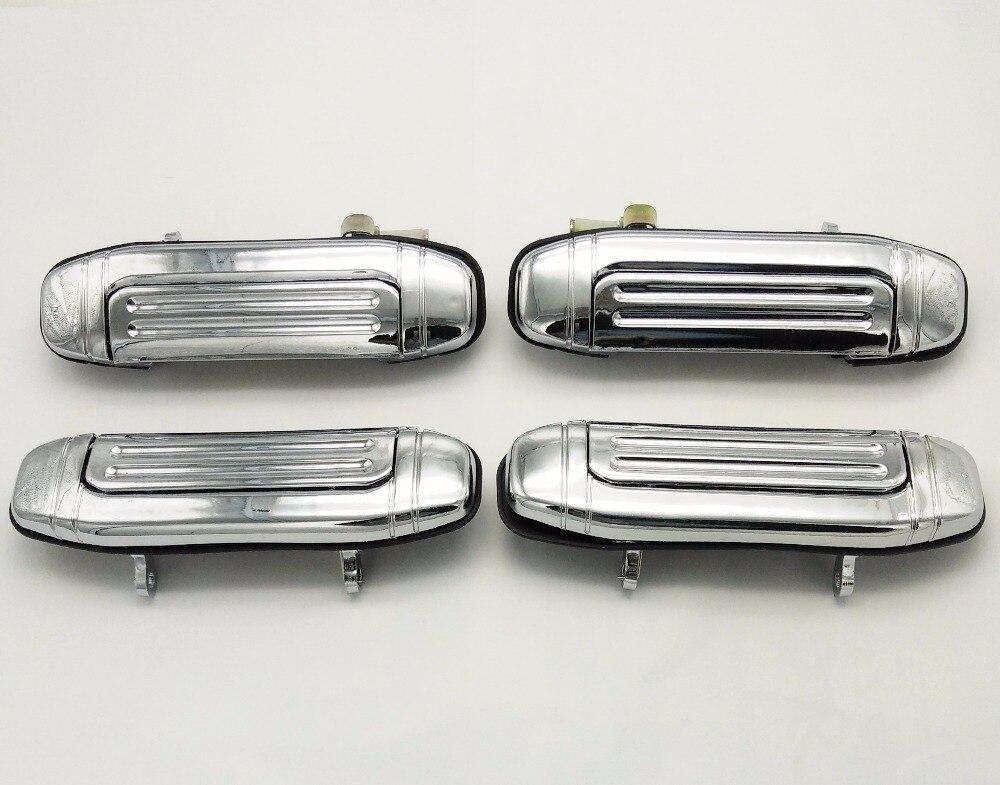 SKTOO Un Ensemble/4 pièces Poignée De Porte Placage pour Mitsubishi Montero Pajero V46 V31 V32 V33 6470 6473 2030 pièces (Plaqué en métal)