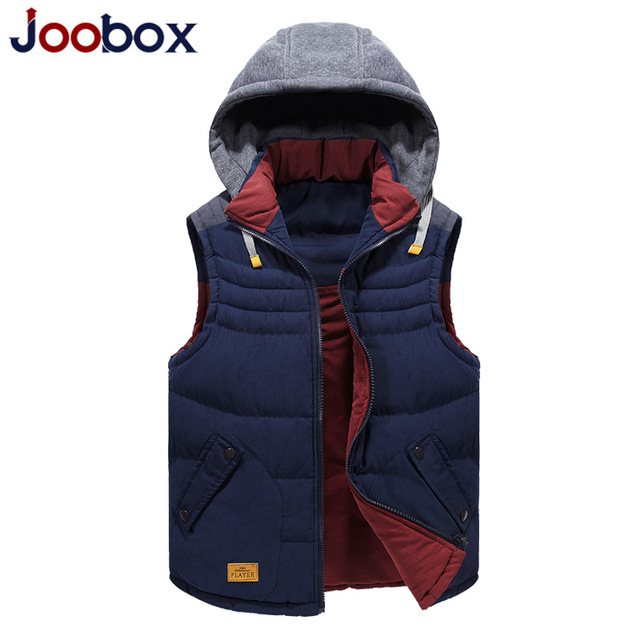 JOOBOX Brand Sleeveless Jacket Men 2016 Inner/outer Double-sided Can Wear Waistcoa Vest Men High Quality Hood Warm Male Vest
