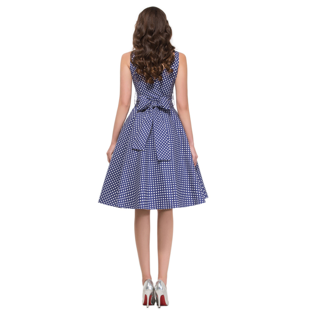 2017 Summer style robe ete 50s swing Vintage Polka dot Dresses Sleeveless Vestidos sexy Club Party plus size Women clothing