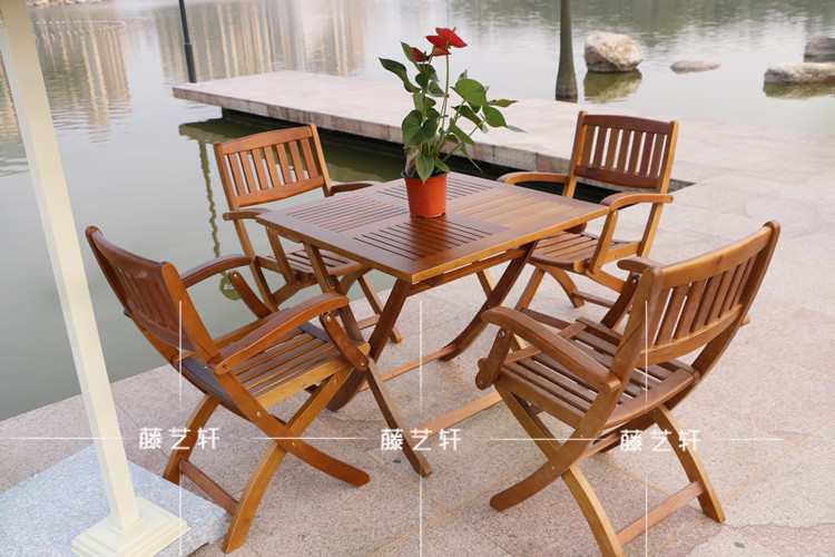 Yixuan Rattan Outdoor Furniture Wood Folding Tables And Chairs