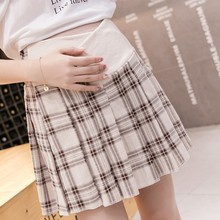 Korean Fashion Plaid Pleated Maternity Skirt Linen Low Waist Stomach Lift Pregnancy Skirt Casual Clothes for Pregnant Women недорого