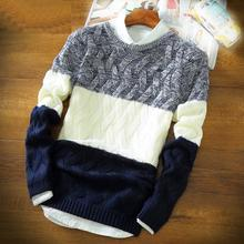 men sweater Autumn and Winter Fashion Full Sleeve O-neck Thick Split Knitting Pullover Rendering Sweater Men Plus Size M-2XL