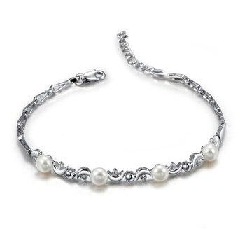 7e4c5b2349fa Material de plata dos perlas cadena Collar de plata de oro tono ...