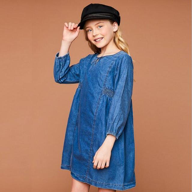 0dd5a25ff € 76.01 |Ropa del bebé del otoño adolescente Denim vestidos Junior vestido  de volantes de moda grandes niños niñas vestido Casual niños ropa en ...