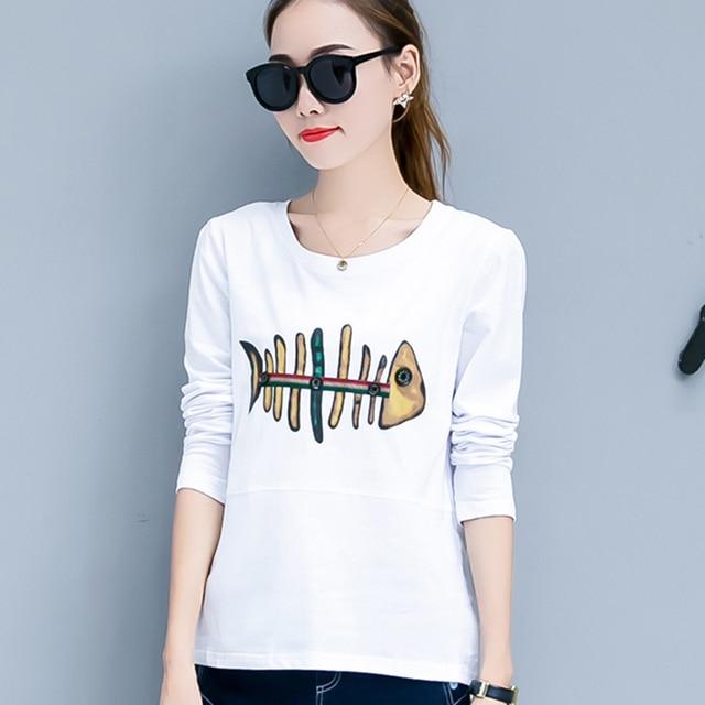 5675cbed58 Tee Shirt Femme Womens Tops Korean Graphic Tees Women T Shirt Cotton 2018  autumn harajuku T-Shirt Print Long Sleeve Tshirt