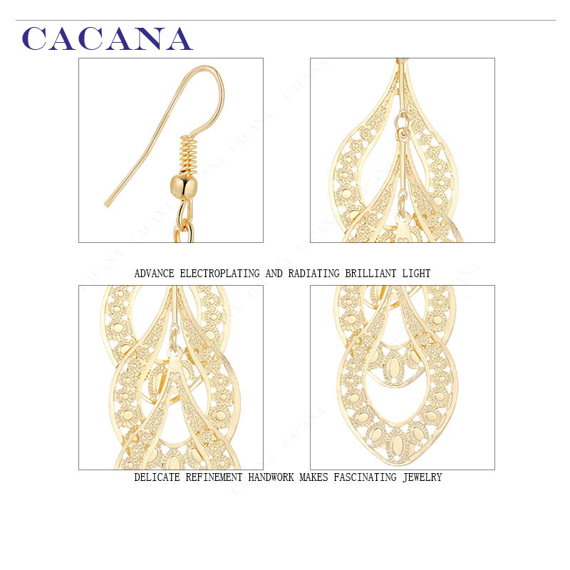 CACANA Dangle Long Earrings For Women Graceful Leaves Bijouterie Hot Sale No.A481 A482