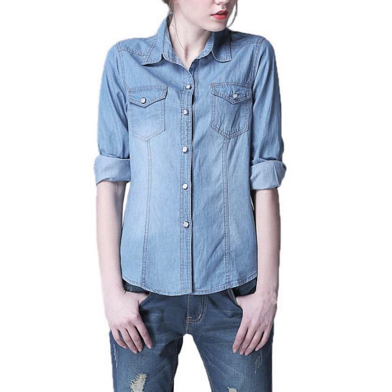 New women denim t shirt long sleeve turn down collar tops for Blue denim shirt for womens