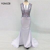 Elegant Long Evening Dress 2018 Mermaid Beading Crystal Floor Length Muslim Arabic White Women Formal Prom